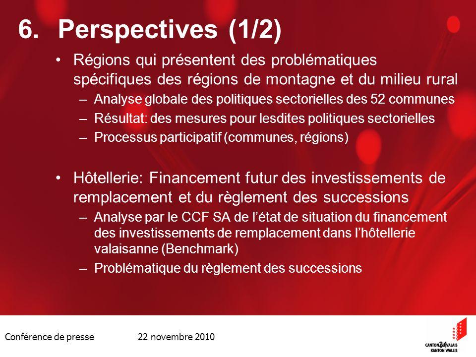 Conférence de presse 22 novembre 2010 31 6.Perspectives (1/2) Régions qui présentent des problématiques spécifiques des régions de montagne et du mili