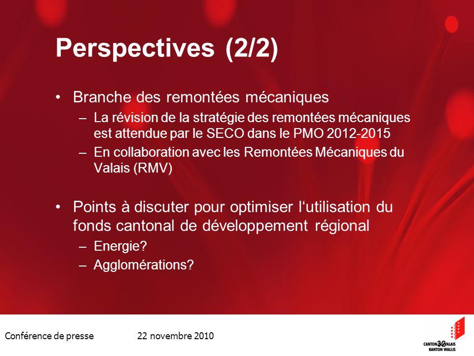 Conférence de presse 22 novembre 2010 32 Perspectives (2/2) Branche des remontées mécaniques –La révision de la stratégie des remontées mécaniques est