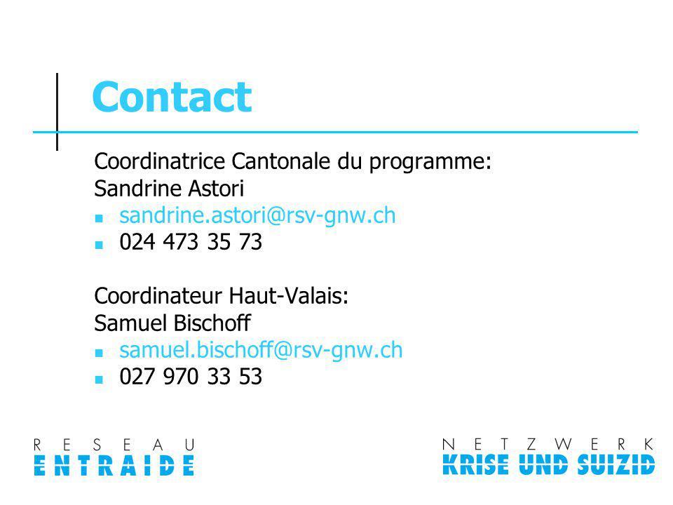 Contact Coordinatrice Cantonale du programme: Sandrine Astori sandrine.astori@rsv-gnw.ch 024 473 35 73 Coordinateur Haut-Valais: Samuel Bischoff samue