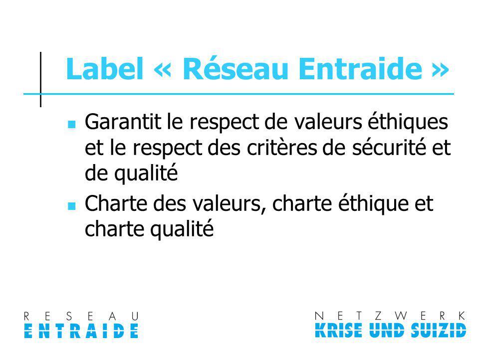 Label « Réseau Entraide » Garantit le respect de valeurs éthiques et le respect des critères de sécurité et de qualité Charte des valeurs, charte éthi