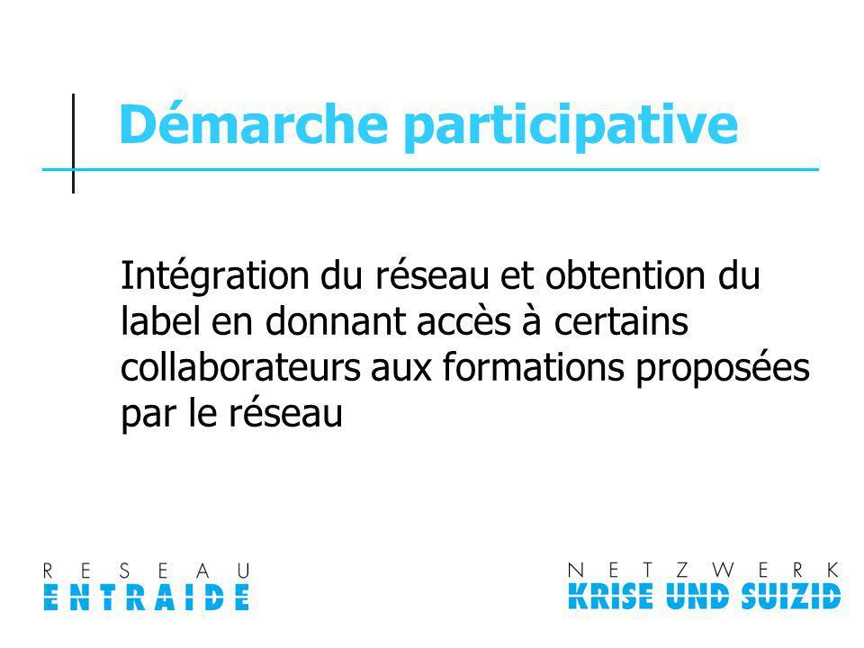 Démarche participative Intégration du réseau et obtention du label en donnant accès à certains collaborateurs aux formations proposées par le réseau
