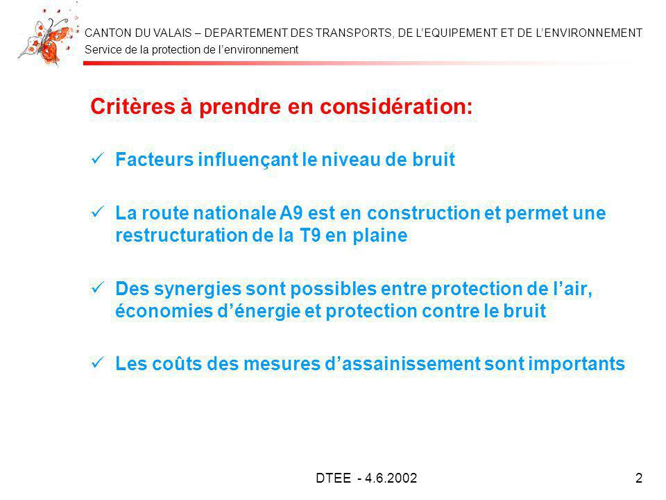 Service de la protection de lenvironnement CANTON DU VALAIS – DEPARTEMENT DES TRANSPORTS, DE LEQUIPEMENT ET DE LENVIRONNEMENT DTEE - 4.6.20022 Critère