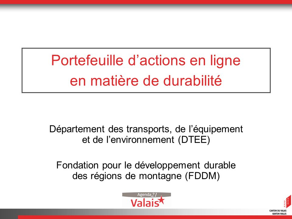 Portefeuille dactions en ligne en matière de durabilité Département des transports, de léquipement et de lenvironnement (DTEE) Fondation pour le développement durable des régions de montagne (FDDM)