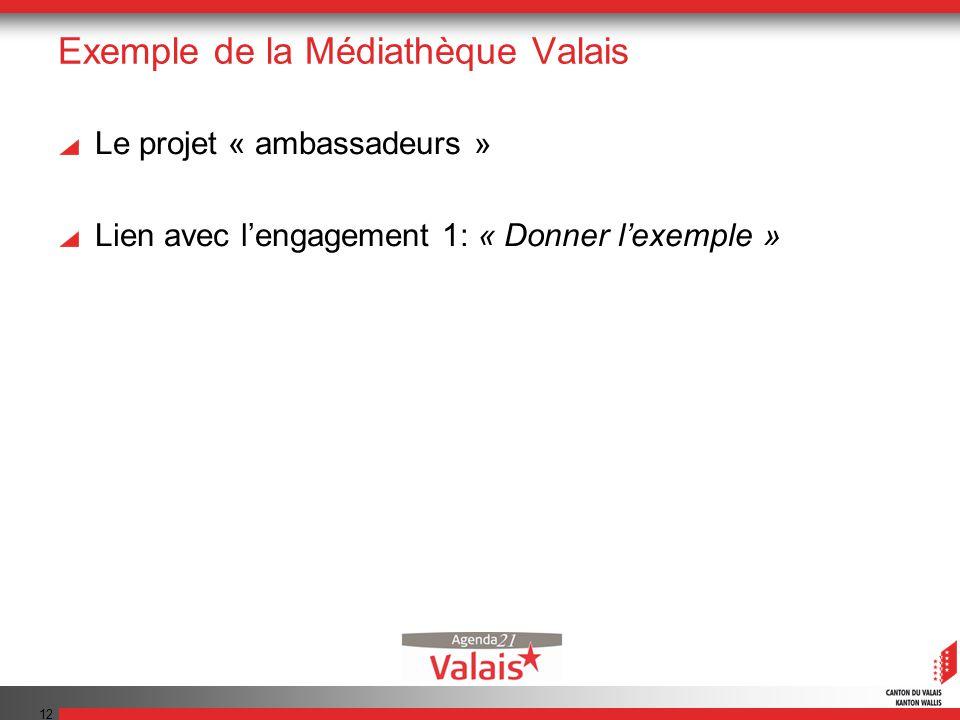 12 Exemple de la Médiathèque Valais Le projet « ambassadeurs » Lien avec lengagement 1: « Donner lexemple »