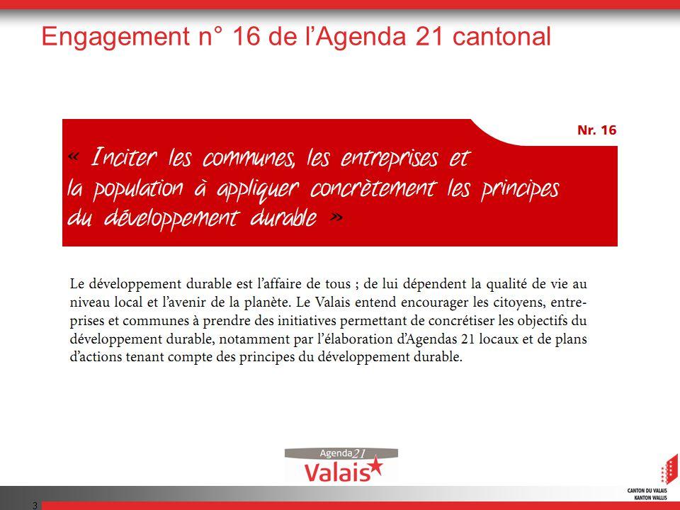 3 Engagement n° 16 de lAgenda 21 cantonal