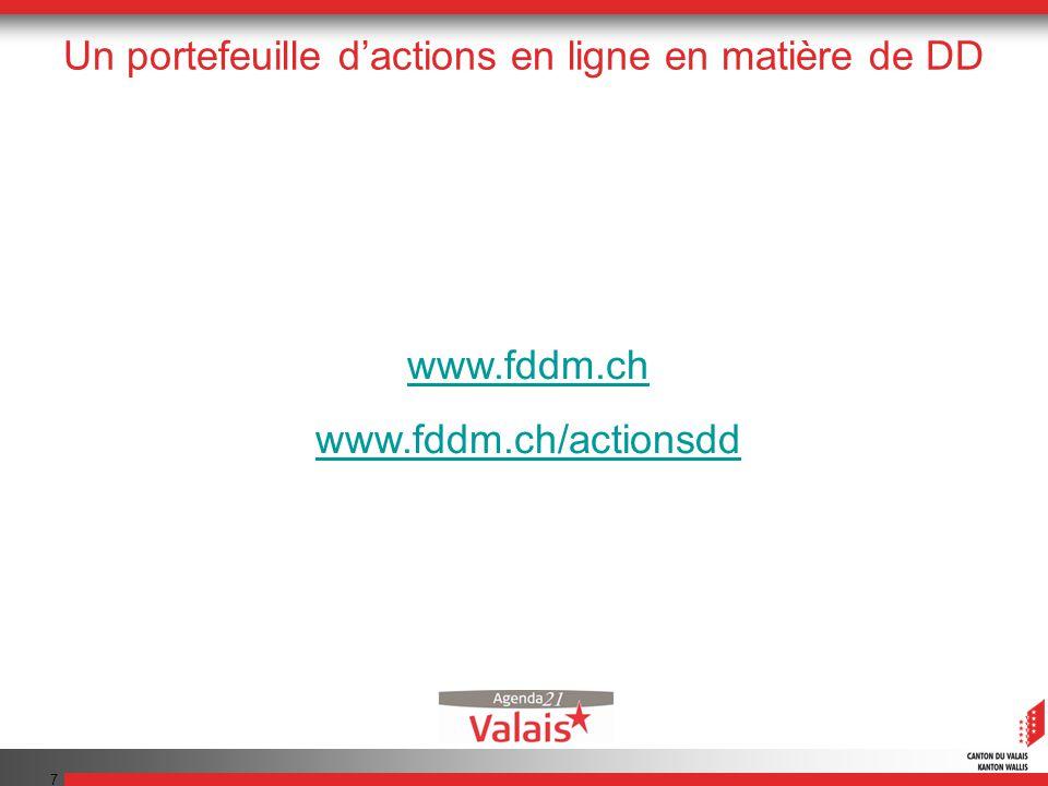 7 Un portefeuille dactions en ligne en matière de DD www.fddm.ch www.fddm.ch/actionsdd