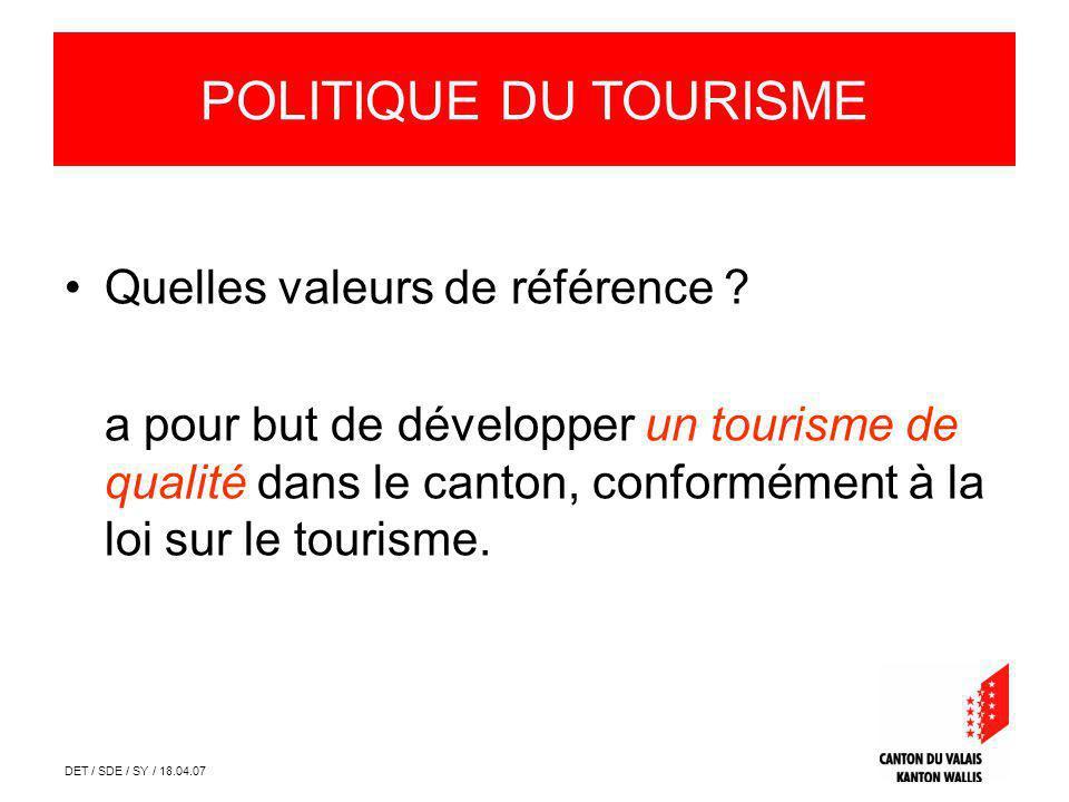 DET / SDE / SY / 18.04.07 Quelles valeurs de référence ? a pour but de développer un tourisme de qualité dans le canton, conformément à la loi sur le