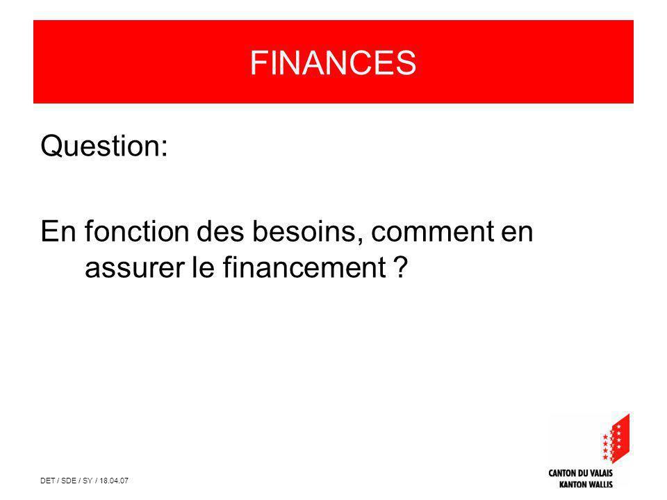 DET / SDE / SY / 18.04.07 FINANCES Question: En fonction des besoins, comment en assurer le financement ?