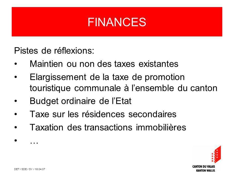 DET / SDE / SY / 18.04.07 FINANCES Pistes de réflexions: Maintien ou non des taxes existantes Elargissement de la taxe de promotion touristique commun