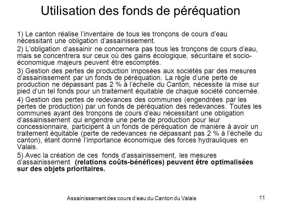 Assainissement des cours deau du Canton du Valais 11 Utilisation des fonds de péréquation 1) Le canton réalise linventaire de tous les tronçons de cours deau nécessitant une obligation dassainissement.
