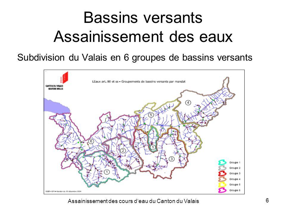 Assainissement des cours deau du Canton du Valais 6 Bassins versants Assainissement des eaux Subdivision du Valais en 6 groupes de bassins versants