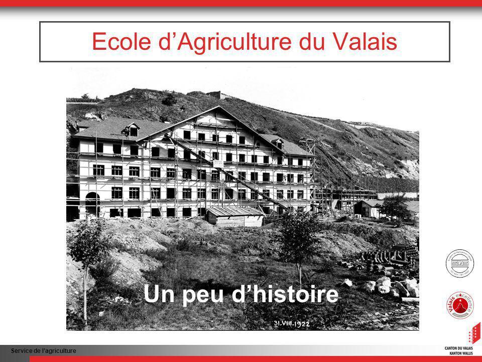 Service de lagriculture Ecole dAgriculture du Valais Un peu dhistoire