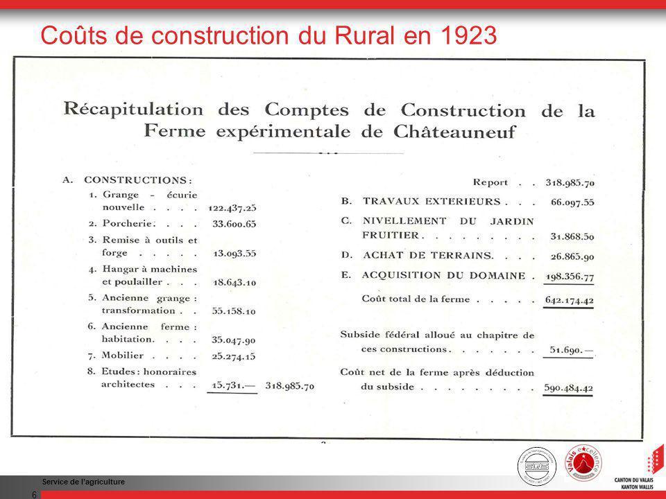 Service de lagriculture 6 Coûts de construction du Rural en 1923