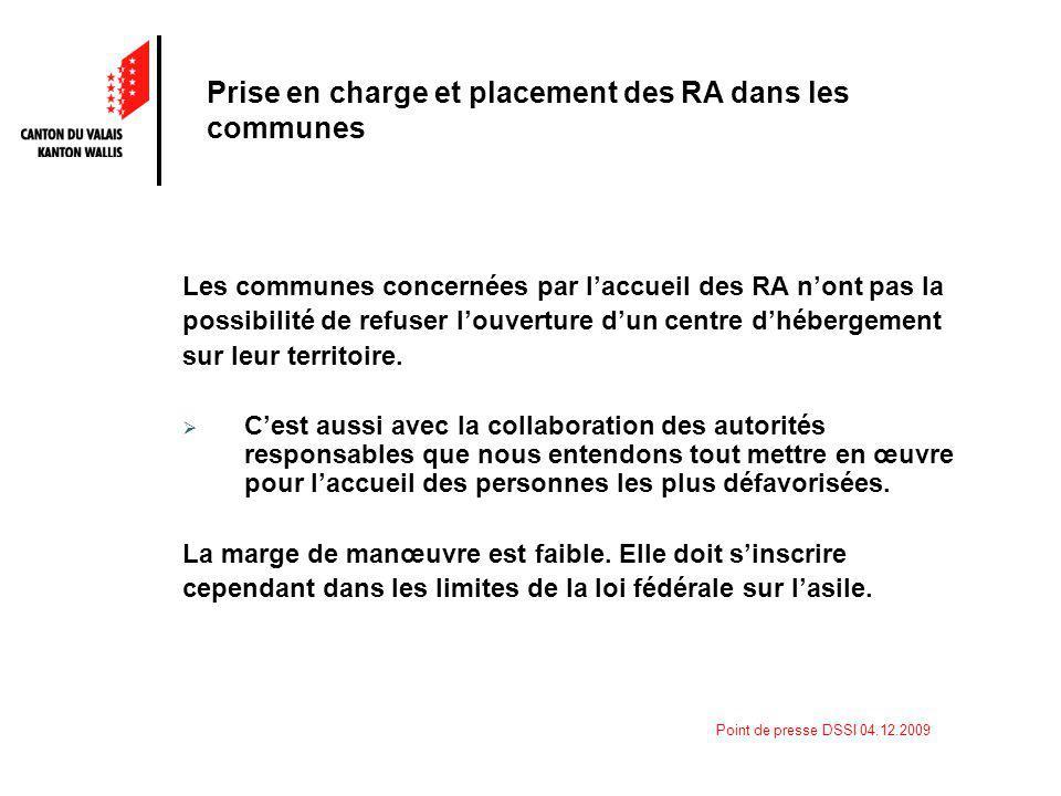 Point de presse DSSI 04.12.2009 Les communes concernées par laccueil des RA nont pas la possibilité de refuser louverture dun centre dhébergement sur leur territoire.