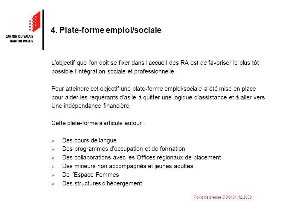 Point de presse DSSI 04.12.2009 4. Plate-forme emploi/sociale Lobjectif que lon doit se fixer dans laccueil des RA est de favoriser le plus tôt possib
