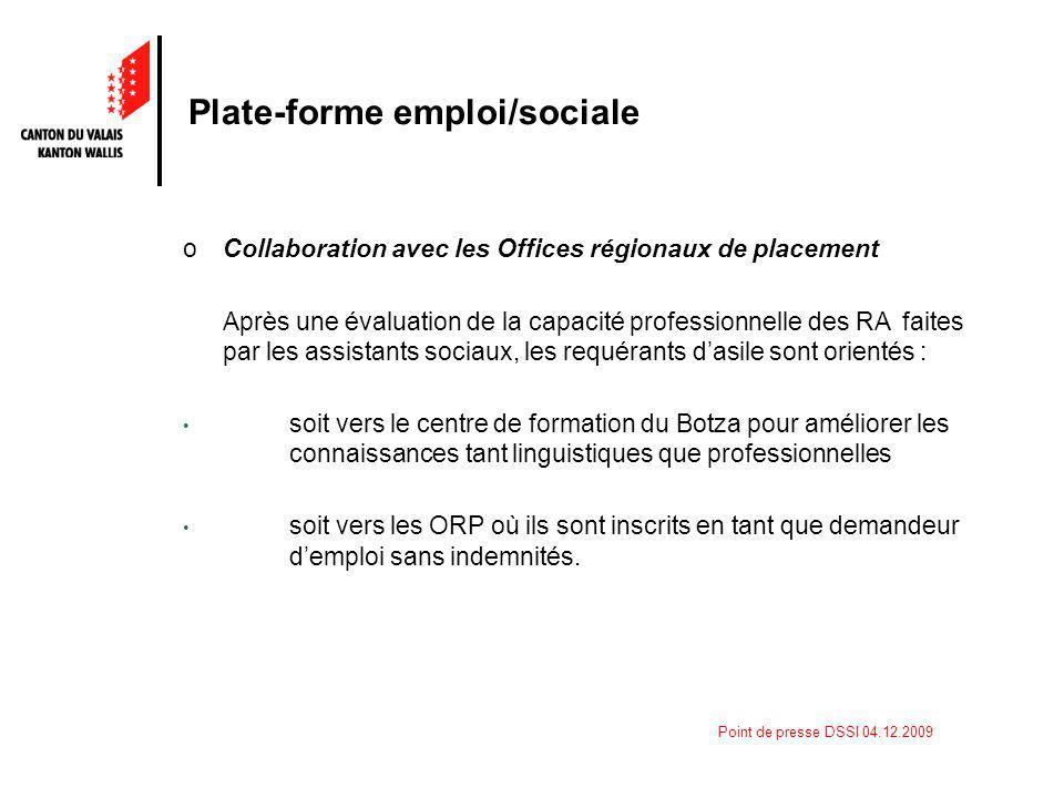 Point de presse DSSI 04.12.2009 Plate-forme emploi/sociale oCollaboration avec les Offices régionaux de placement Après une évaluation de la capacité
