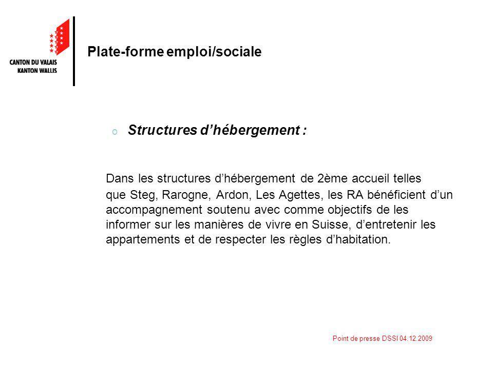 Point de presse DSSI 04.12.2009 Plate-forme emploi/sociale o Structures dhébergement : Dans les structures dhébergement de 2ème accueil telles que Ste