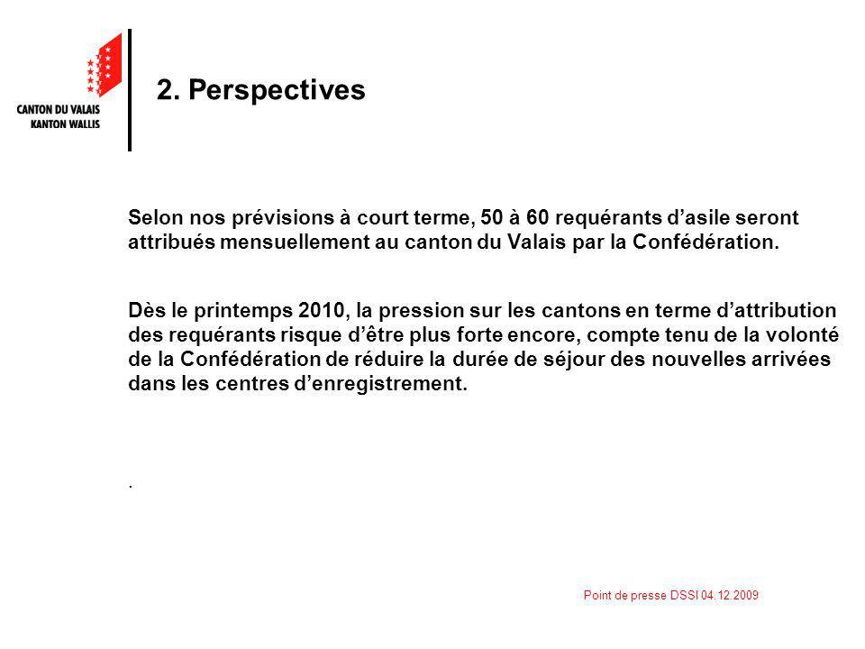 Point de presse DSSI 04.12.2009 2. Perspectives Selon nos prévisions à court terme, 50 à 60 requérants dasile seront attribués mensuellement au canton