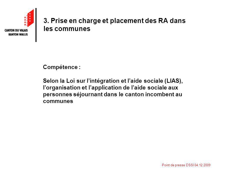 Point de presse DSSI 04.12.2009 3. Prise en charge et placement des RA dans les communes Compétence : Selon la Loi sur lintégration et laide sociale (