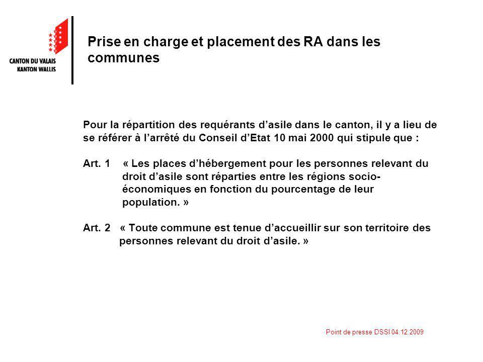 Point de presse DSSI 04.12.2009 Prise en charge et placement des RA dans les communes Pour la répartition des requérants dasile dans le canton, il y a lieu de se référer à larrêté du Conseil dEtat 10 mai 2000 qui stipule que : Art.