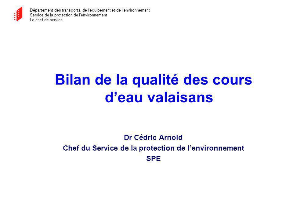 Département des transports, de l équipement et de l environnement Service de la protection de lenvironnement Le chef de service Evolution dans le temps de la qualité physico-chimique des eaux du Rhône