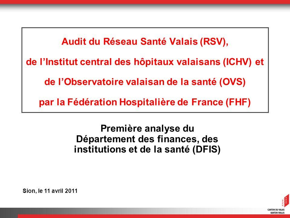 Audit du Réseau Santé Valais (RSV), de lInstitut central des hôpitaux valaisans (ICHV) et de lObservatoire valaisan de la santé (OVS) par la Fédération Hospitalière de France (FHF) Première analyse du Département des finances, des institutions et de la santé (DFIS) Sion, le 11 avril 2011