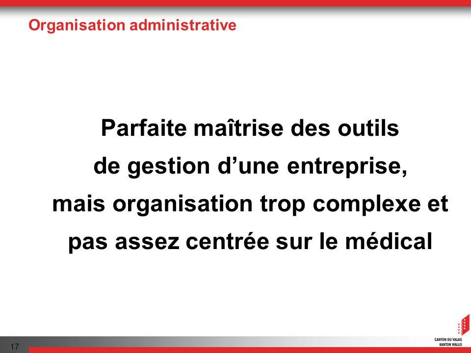 17 Organisation administrative Parfaite maîtrise des outils de gestion dune entreprise, mais organisation trop complexe et pas assez centrée sur le médical