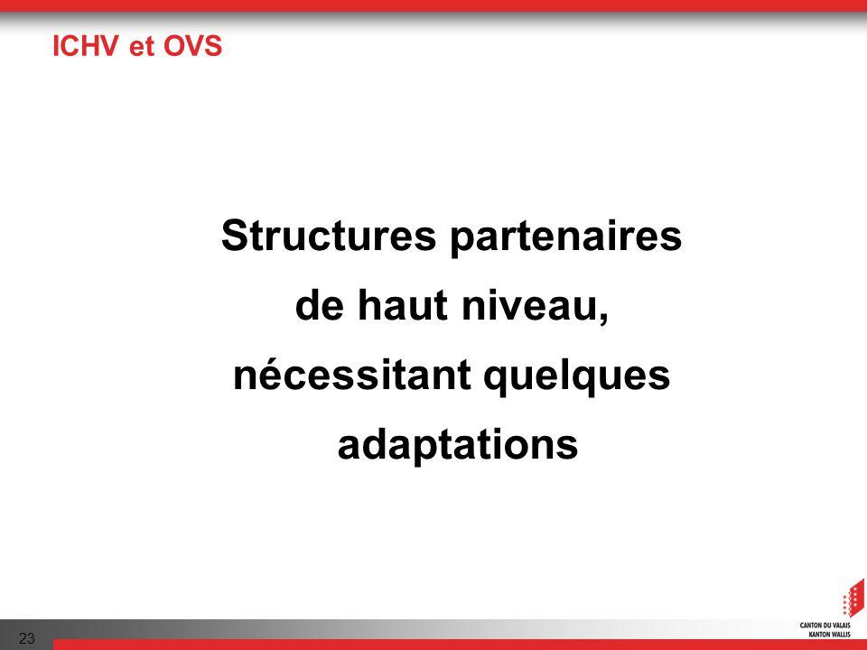 23 ICHV et OVS Structures partenaires de haut niveau, nécessitant quelques adaptations