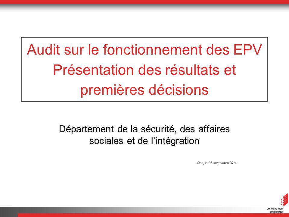 Audit sur le fonctionnement des EPV Présentation des résultats et premières décisions Département de la sécurité, des affaires sociales et de lintégration Sion, le 23 septembre 2011