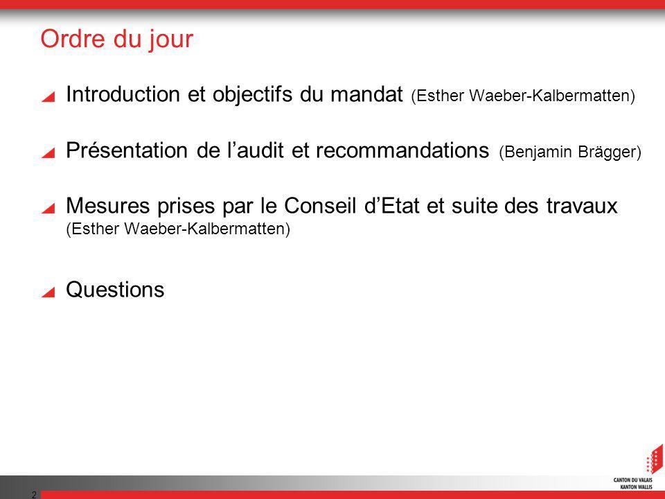 2 Ordre du jour Introduction et objectifs du mandat (Esther Waeber-Kalbermatten) Présentation de laudit et recommandations (Benjamin Brägger) Mesures prises par le Conseil dEtat et suite des travaux (Esther Waeber-Kalbermatten) Questions