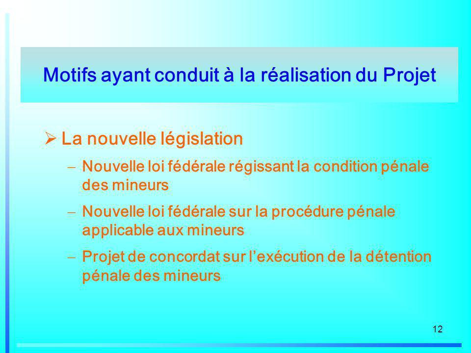 12 La nouvelle législation Nouvelle loi fédérale régissant la condition pénale des mineurs Nouvelle loi fédérale sur la procédure pénale applicable au