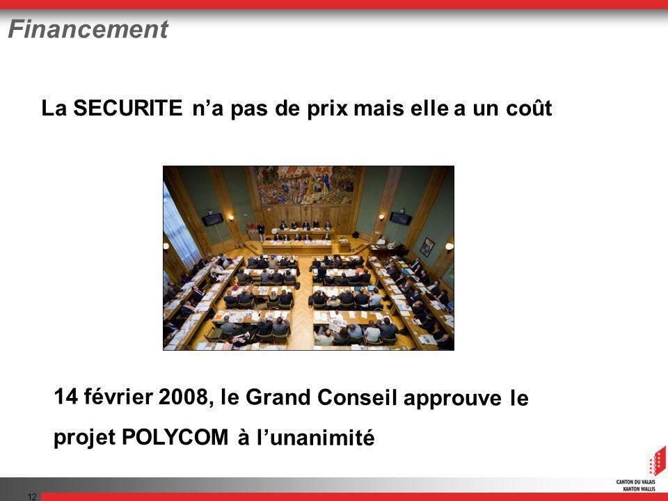 12 Financement La SECURITE na pas de prix mais elle a un coût 14 février 2008, le Grand Conseil approuve le projet POLYCOM à lunanimité