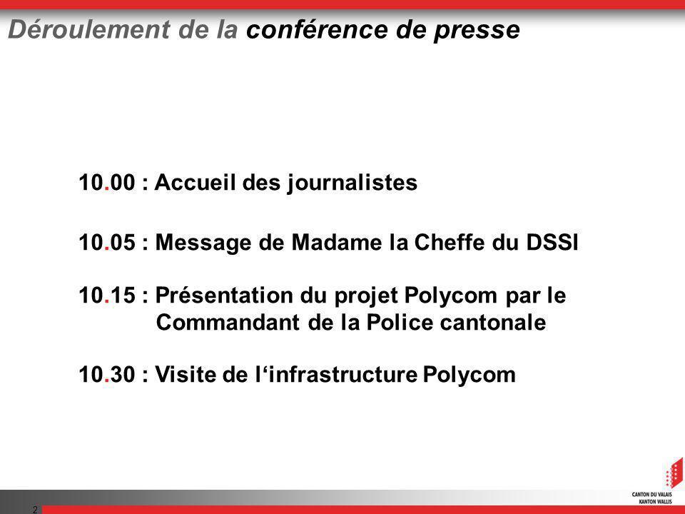 2 10.00 : Accueil des journalistes 10.05 : Message de Madame la Cheffe du DSSI 10.15 : Présentation du projet Polycom par le Commandant de la Police cantonale 10.30 : Visite de linfrastructure Polycom Déroulement de la conférence de presse