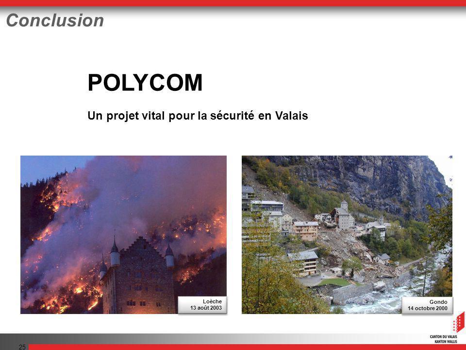 25 Conclusion POLYCOM Un projet vital pour la sécurité en Valais Gondo 14 octobre 2000 Gondo 14 octobre 2000 Loèche 13 août 2003 Loèche 13 août 2003