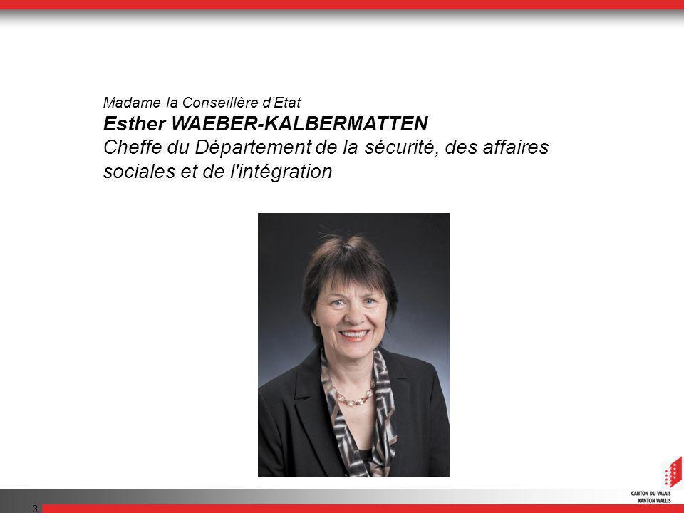 3 Madame la Conseillère dEtat Esther WAEBER-KALBERMATTEN Cheffe du Département de la sécurité, des affaires sociales et de l'intégration