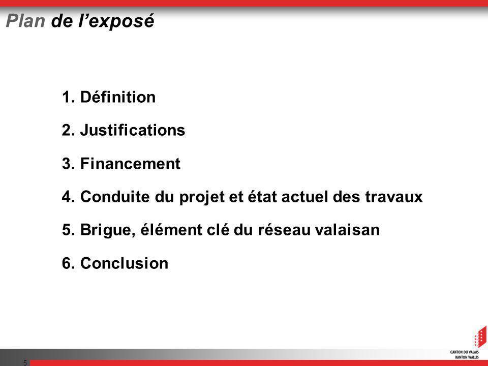 5 Plan de lexposé 1.Définition 2.Justifications 3.Financement 4.Conduite du projet et état actuel des travaux 5.Brigue, élément clé du réseau valaisan
