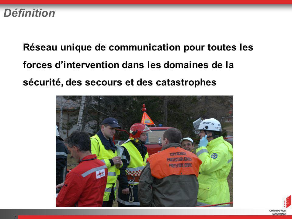 7 Définition Réseau unique de communication pour toutes les forces dintervention dans les domaines de la sécurité, des secours et des catastrophes