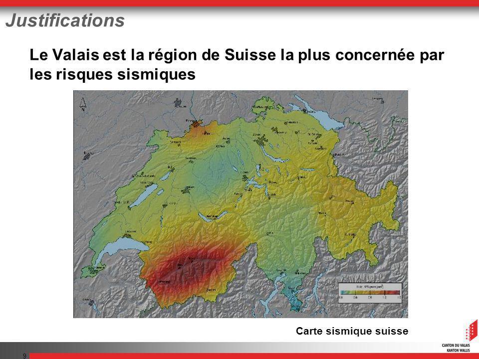 9 Justifications Le Valais est la région de Suisse la plus concernée par les risques sismiques Carte sismique suisse