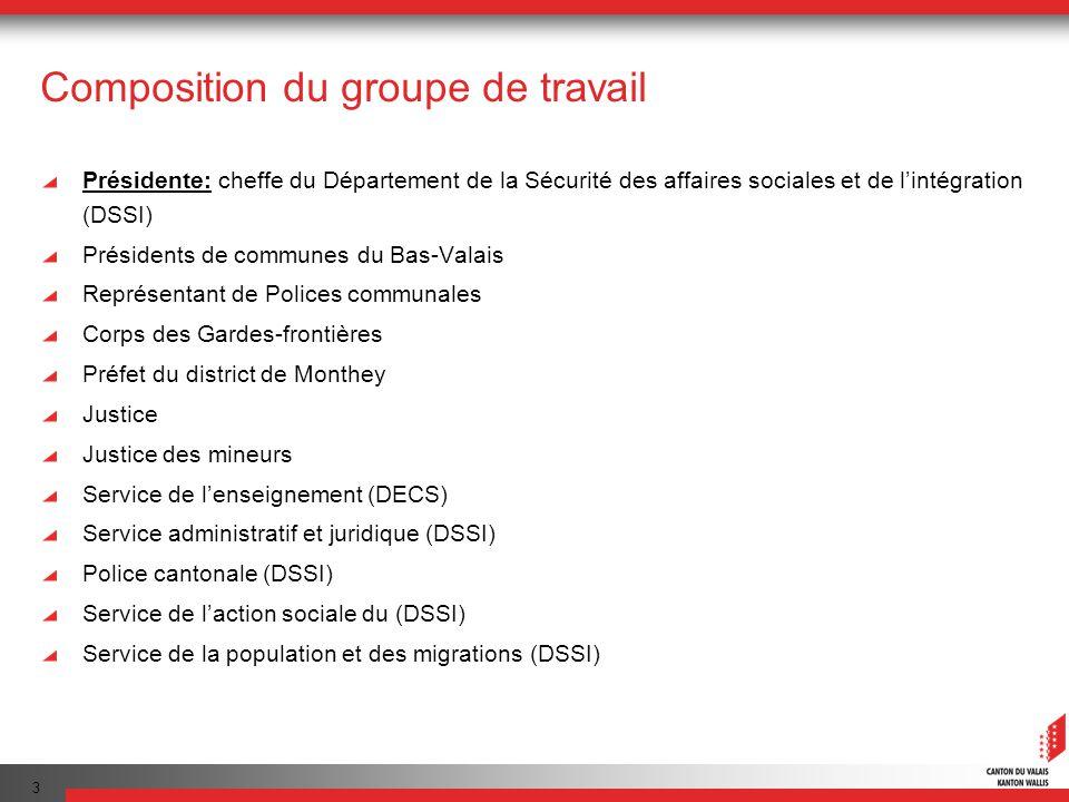 3 Composition du groupe de travail Présidente: cheffe du Département de la Sécurité des affaires sociales et de lintégration (DSSI) Présidents de comm