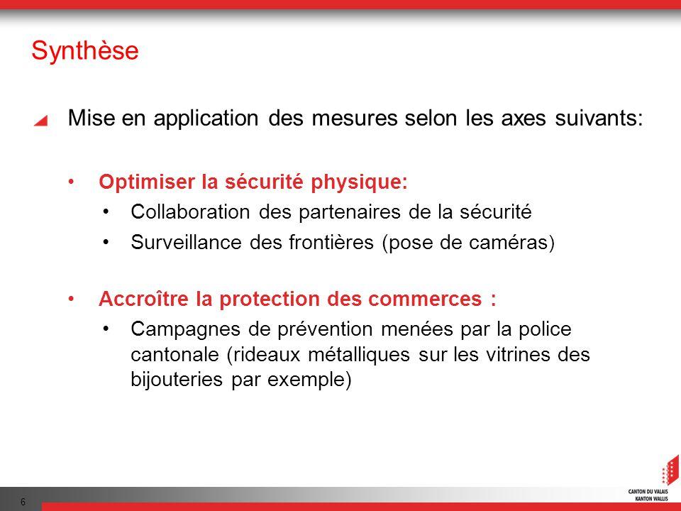 6 Synthèse Mise en application des mesures selon les axes suivants: Optimiser la sécurité physique: Collaboration des partenaires de la sécurité Surve