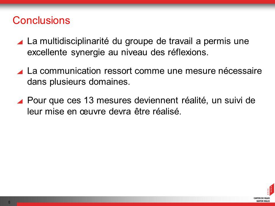 8 Conclusions La multidisciplinarité du groupe de travail a permis une excellente synergie au niveau des réflexions. La communication ressort comme un