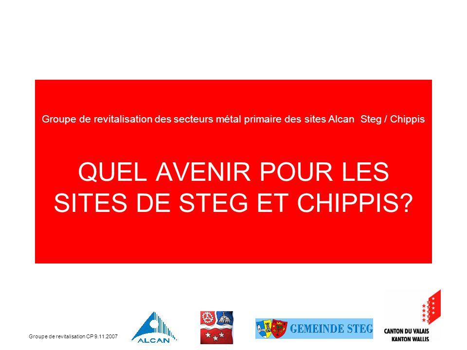 Groupe de revitalisation CP 9.11.2007 Sommaire 1.Introduction, par Jean-Michel Cina 2.Masterplans Steg et Chippis, par Jean-Michel Cina 3.Position des communes, par Mme Roth et M.