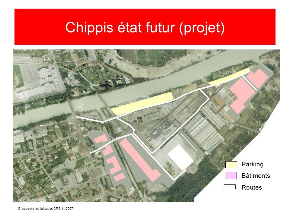 Groupe de revitalisation CP 9.11.2007 Chippis état futur (projet) Parking Bâtiments Routes