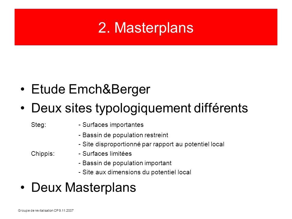 Groupe de revitalisation CP 9.11.2007 2. Masterplans Etude Emch&Berger Deux sites typologiquement différents Steg: - Surfaces importantes - Bassin de