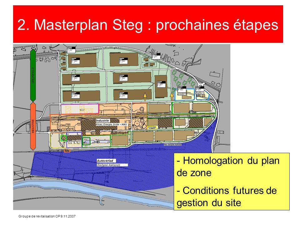 Groupe de revitalisation CP 9.11.2007 2. Masterplan Steg : prochaines étapes - Homologation du plan de zone - Conditions futures de gestion du site
