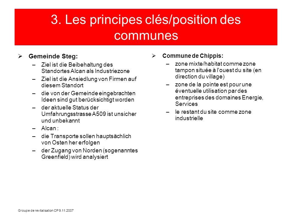 Groupe de revitalisation CP 9.11.2007 3. Les principes clés/position des communes Gemeinde Steg: –Ziel ist die Beibehaltung des Standortes Alcan als I