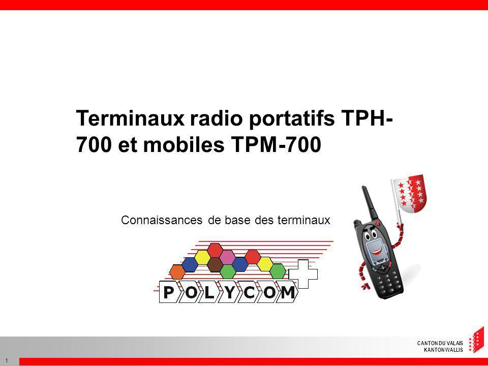 CANTON DU VALAIS KANTON WALLIS 1 Terminaux radio portatifs TPH- 700 et mobiles TPM-700 Connaissances de base des terminaux