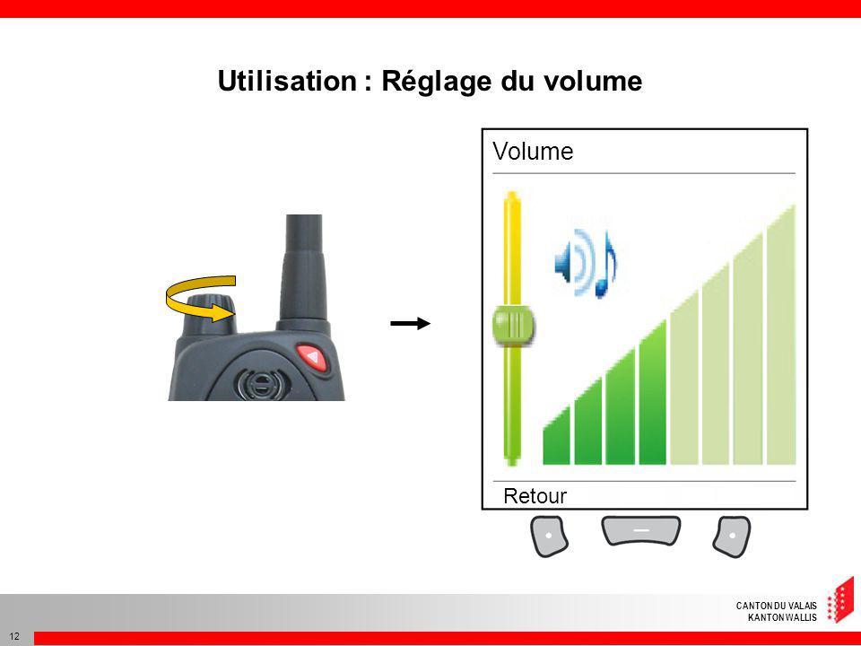 CANTON DU VALAIS KANTON WALLIS 12 Utilisation : Réglage du volume Volume Retour