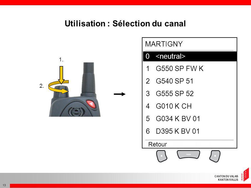 CANTON DU VALAIS KANTON WALLIS 13 1. 2. Utilisation : Sélection du canal 0 1G550 SP FW K 2G540 SP 51 3G555 SP 52 4G010 K CH 5G034 K BV 01 6D395 K BV 0