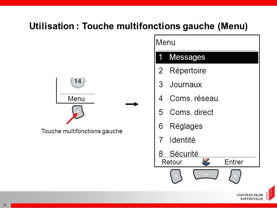 CANTON DU VALAIS KANTON WALLIS 15 Utilisation : Touche multifonctions gauche (Menu) Touche multifonctions gauche 1Mesages 2Répertoire 3Journaux 4Coms.